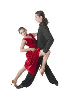 Young Couple Dancing Tango Stock Photography