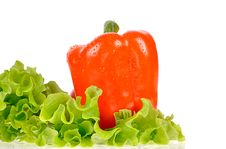 Free Pepper And Salad Leaf Royalty Free Stock Image - 35971536