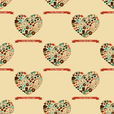 Free Hipster Love Colorful Seamless Pattern Stock Photography - 35973492