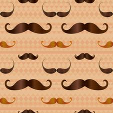 Free Hipster Mustache On Geometric Seamless Pattern Royalty Free Stock Photography - 35973597