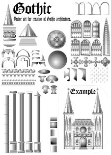 Free Set For Gothic Architecture. &x28;Vector&x29; Royalty Free Stock Images - 35974579
