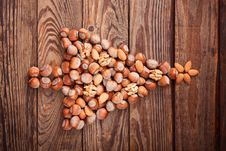 Free Hazelnuts, Filbert On Old Wooden Background Royalty Free Stock Images - 35975889