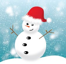 Free Snowman With Red Cap On Blue Background Royalty Free Stock Photos - 35976518