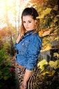 Free Beautiful Brunette Woman In Garden Royalty Free Stock Image - 35981386