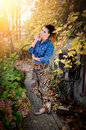 Free Beautiful Brunette Woman In Garden Royalty Free Stock Photo - 35981415