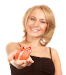 Free Cheerful Female With Christmas Gift Stock Image - 35984261