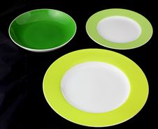 Green Dishes. Stock Images