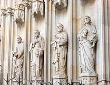 Statues At The Entrance Into Cathedral In Barcelona, Spain. Royalty Free Stock Image