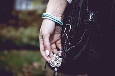 Free Fashion Woman With Silver  Jewelry On Hand Stock Image - 35990131