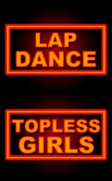Lap Dance  Topless Girls Neon Black Background Stock Photography