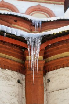 Icicles On The Roof Of The Church Stock Photo