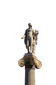Free Statue Of Apollon On The Top Of The Column Isolated On White Background, At Stock Photo - 35996560