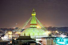 Free Boudhanath Stupa At Night In Nepal Kathmandu Stock Photography - 35996632