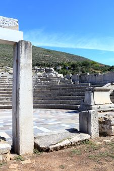 Ruins Of Theater In Ancient Cityof Messina, Peloponnes, Greece Royalty Free Stock Image