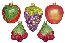 Free 5 Christmas Decorations In The Form Of Fruit On A White Backgrou Royalty Free Stock Image - 35997846