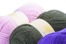 Three Balls Of Coloured Wool Stock Photos
