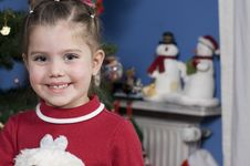 Cute Girl At Christmas Time Stock Images