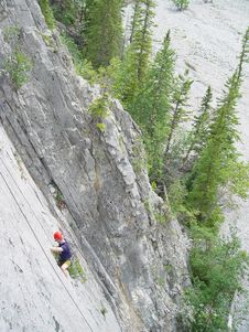 Climbing In The Canadian Rockies Royalty Free Stock Images