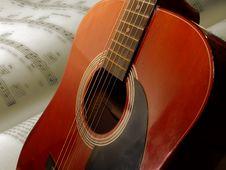 Free Guitar_sheetmusic Background Royalty Free Stock Photography - 365467