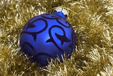 Free Blue Christmas Ornament Up-close Royalty Free Stock Photo - 366105