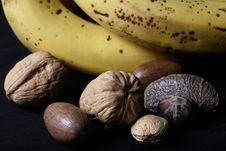 Free Mixed Nuts Beside Bananas Stock Photos - 369103