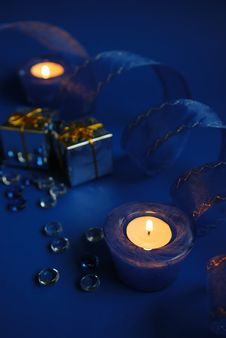 Free Blue Candles And Ribbon Stock Photos - 3600503