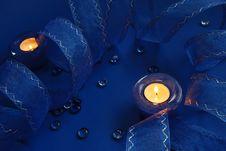 Free Blue Candles And Ribbon Royalty Free Stock Photography - 3600517