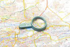 Free Handglass On A Map Stock Photo - 3600710