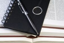 Free Notebook And Pen On Books Stock Image - 3600801