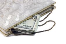 Free Money In White Beaded Purse Stock Image - 3601771
