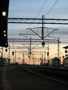 Railroad Station In The Morning