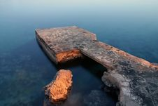 Breakwater Painted With Light Royalty Free Stock Photography