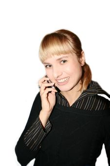 Woman Is Calling By Phone Royalty Free Stock Photography