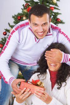 Free Receiving Christmas Present Stock Photos - 3608543