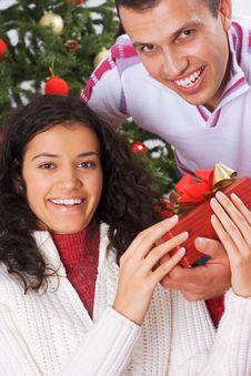 Free Receiving Christmas Present Royalty Free Stock Photos - 3608758