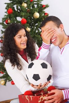 Free Receiving Christmas Present Stock Photo - 3609060