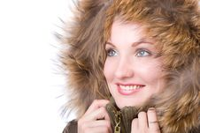 Young Woman In A Jacket With Fur Royalty Free Stock Photography