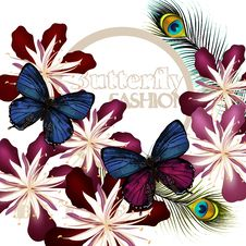 Free Fashion Vector Background With Butterflies Stock Image - 36002871