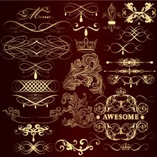 Golden Decorative Elements Set  In Vintage Style Royalty Free Stock Image