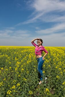 Free Young Beautiful Woman In Flowering Field In Summer. Outdoors Stock Images - 36009334