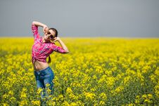 Free Young Beautiful Woman In Flowering Field In Summer. Outdoors Stock Images - 36009344