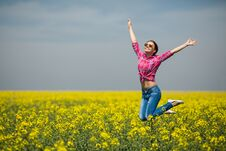 Free Young Beautiful Woman In Flowering Field In Summer. Outdoors Royalty Free Stock Image - 36009346