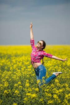 Free Young Beautiful Woman In Flowering Field In Summer. Outdoors Stock Photo - 36009350