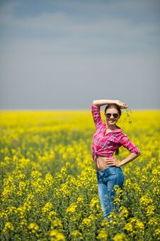 Free Young Beautiful Woman In Flowering Field In Summer. Outdoors Royalty Free Stock Photo - 36009355