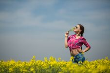 Free Young Beautiful Woman In Flowering Field In Summer. Outdoors Royalty Free Stock Image - 36009356