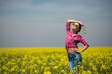 Free Young Beautiful Woman In Flowering Field In Summer. Outdoors Stock Photo - 36009360