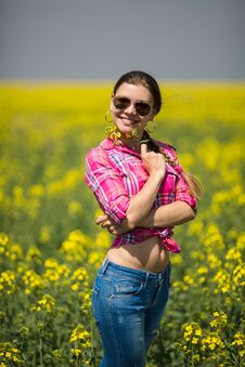 Free Young Beautiful Woman In Flowering Field In Summer. Outdoors Stock Images - 36009364