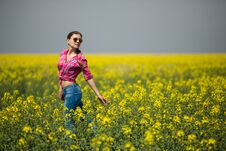 Free Young Beautiful Woman In Flowering Field In Summer. Outdoors Stock Image - 36009371