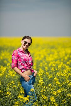 Free Young Beautiful Woman In Flowering Field In Summer. Outdoors Stock Photo - 36009380