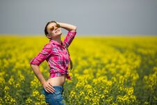 Free Young Beautiful Woman In Flowering Field In Summer. Outdoors Stock Photos - 36009383